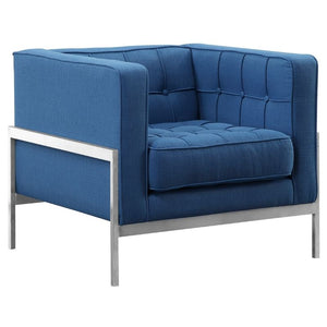 Andre Contemporary Sofa Chair in Brushed Stainless Steel and Blue Fabric
