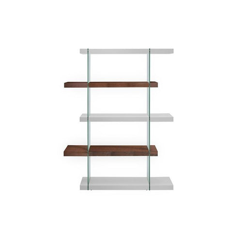 IL VETRO High Gloss White / Walnut Veneer Bookcase by Casabianca Home