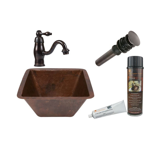 Square Hammered Copper Sink with ORB Single Handle Faucet, Matching Drain
