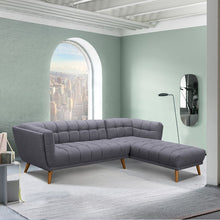 Load image into Gallery viewer, Belina Mid-Century Sectional in Champagne Wood Finish and Dark Grey Fabric