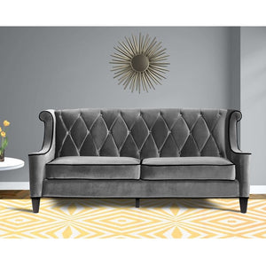 Barrister Sofa In Gray Velvet With Black Piping