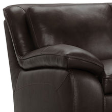 Load image into Gallery viewer, Zanna Contemporary Sofa in Genuine Dark Brown Leather with Brown Wood Legs