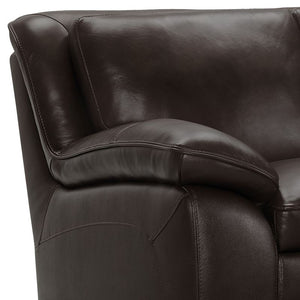 Zanna Contemporary Sofa in Genuine Dark Brown Leather with Brown Wood Legs