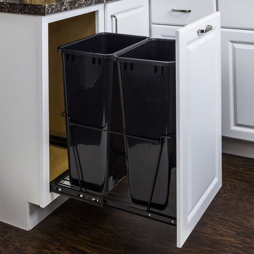Black 50-Quart Double Pullout Waste Container System