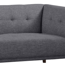 Load image into Gallery viewer, Hudson Mid-Century Button-Tufted Sofa in Dark Gray Linen and Walnut Legs