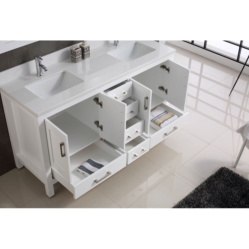 Adornus Astoria Double Vanity, White, 60