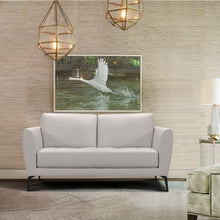 Load image into Gallery viewer, Hope Contemporary Loveseat in Genuine Dove Grey Leather with Black Metal Legs