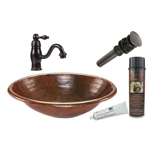 Oval Self Rimming Hammered Copper Sink with ORB Faucet, Matching Drain