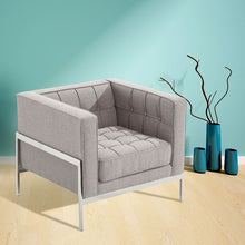 Load image into Gallery viewer, Andre Contemporary Chair In Gray Tweed and Stainless Steel