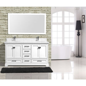 "Adornus Cambridge White 60"" Double Bathroom Vanity with mirror"