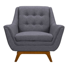 Load image into Gallery viewer, Janson Mid-Century Sofa Chair in Champagne Wood Finish and Dark Grey Fabric
