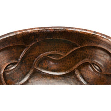 Load image into Gallery viewer, Oval Braid Self Rimming Hammered Copper Sink