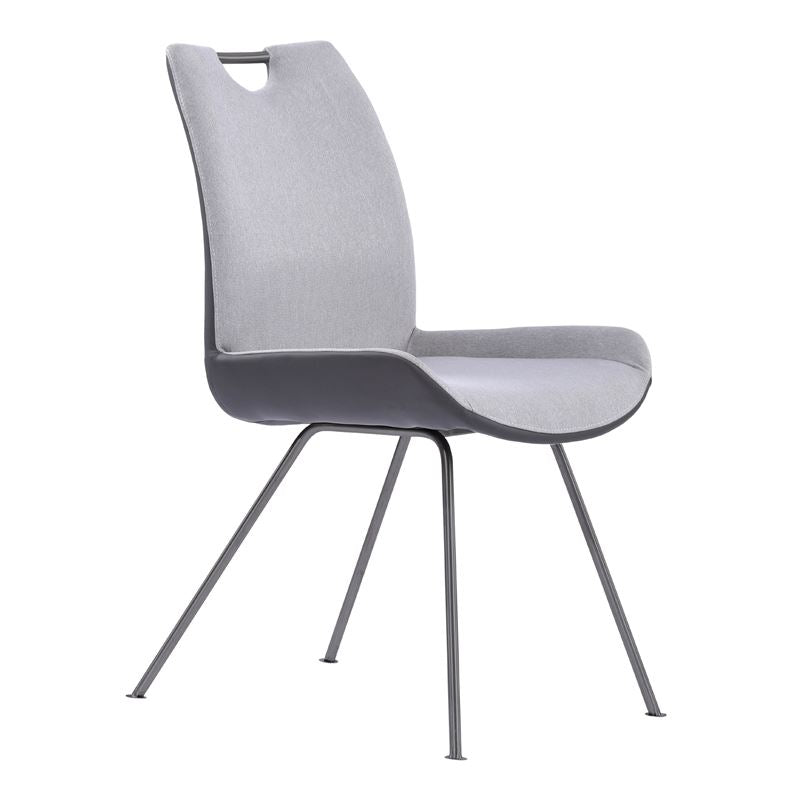 Coronado Contemporary Dining Chair in Grey Powder Coated Finish and Pewter Fabric - Set of 2