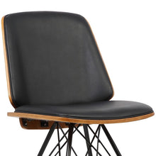 Load image into Gallery viewer, Inez Mid-Century Dining Chair in Black Faux Leather with Black Powder Coated Metal Legs and Walnut Veneer Back