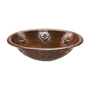Oval Star Self Rimming Hammered Copper Sink