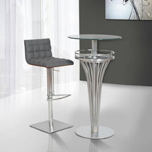 Load image into Gallery viewer, Yukon Contemporary Bar Table In Stainless Steel and Gray Frosted Glass