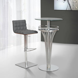 Yukon Contemporary Bar Table In Stainless Steel and Gray Frosted Glass