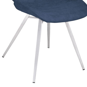 Valor Contemporary Dining Chair in Brushed Stainless Steel with Dark Vintage Blue Faux Leather
