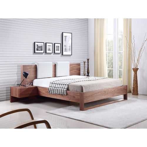BAY Walnut Veneer Queen Bed built-in night stands and two removable headrests