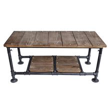 Load image into Gallery viewer, Kyle Industrial Coffee Table in Industrial Grey and Pine Wood Top