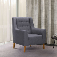 Load image into Gallery viewer, Nubia Mid-Century Accent Chair in Champagne Wood Finish and Dark Grey Fabric