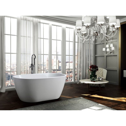 Genoa 59 inch Freestanding Bathtub in Glossy White
