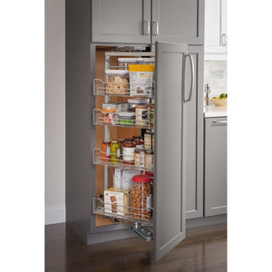 "15"" Wide x 86"" High Chrome Wire Pantry Pullout with Swingout Feature"