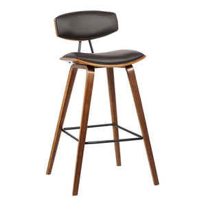 "Fox 30"" Mid-Century Bar Height Barstool in Brown Faux Leather with Walnut Wood"
