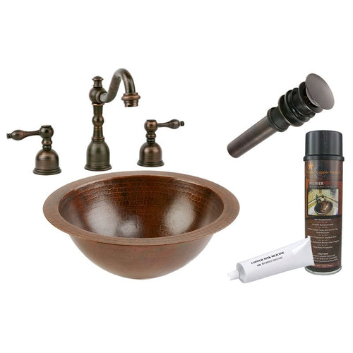 Small Round Under Counter Hammered Copper Sink w ORB Widespread Faucet w Drain
