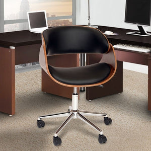 Julian Modern Office Chair In Chrome Finish with Black Faux Leather And Walnut Veneer Back