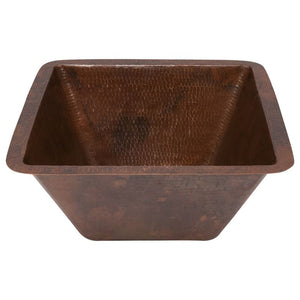 "15"" Square Under Counter Hammered Copper Bathroom Sink"