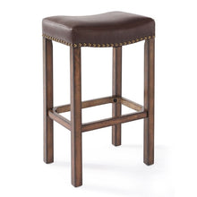 "Load image into Gallery viewer, Tudor 30"" Bar Height Wood Backless Barstool in Chestnut Finish and Kahlua Faux Leather"
