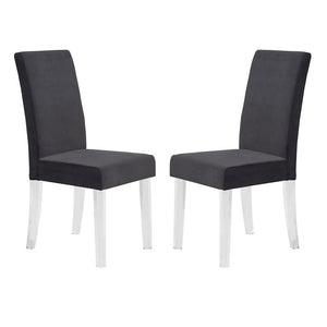 Dalia Modern and Contemporary Dining Chair in Black Velvet with Acrylic Legs (Set of 2)
