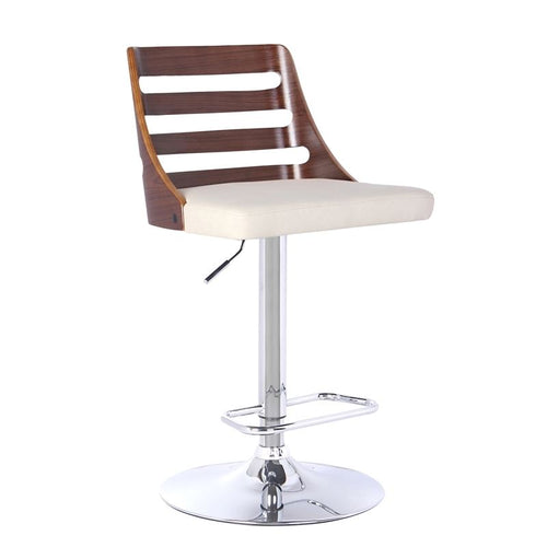 Storm Barstool in Chrome finish with Walnut wood and Cream Faux Leather