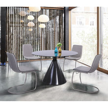Load image into Gallery viewer, Brittany Contemporary Dining Chair in Brushed Stainless Steel Finish and Pewter Fabric - Set of 2
