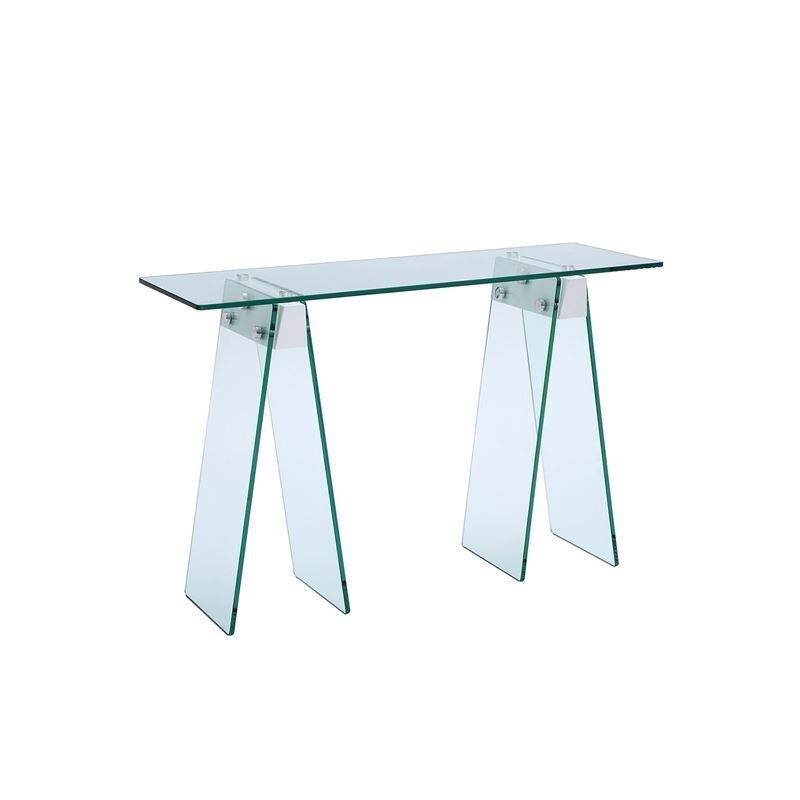 JETTA High Gloss White Lacquer w 1/2 Clear Glass Console Table