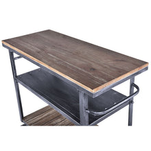 Load image into Gallery viewer, Reign Industrial Kitchen Cart in Industrial Grey and Pine Wood