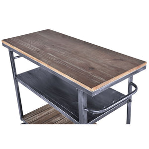 Reign Industrial Kitchen Cart in Industrial Grey and Pine Wood