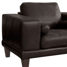 Load image into Gallery viewer, Wynne Contemporary Chair in Genuine Espresso Leather with Brown Wood Legs