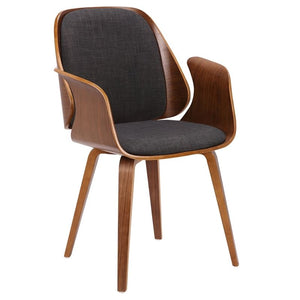 Tiffany Mid-Century Dining Chair in Charcoal Fabric with Walnut Veneer Finish