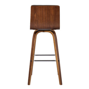 "Vienna 30"" Bar Height Barstool in Walnut Wood Finish with Grey Faux Leather"