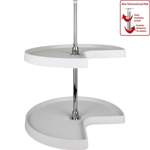 "28"" Diameter Kidney Plastic Lazy Susan Set with Chrome Hubs"