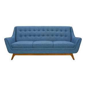Janson Mid-Century Sofa in Champagne Wood Finish and Blue Fabric