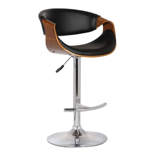 Butterfly Adjustable Swivel Barstool in Black Pu with Chrome Finish and Walnut Wood