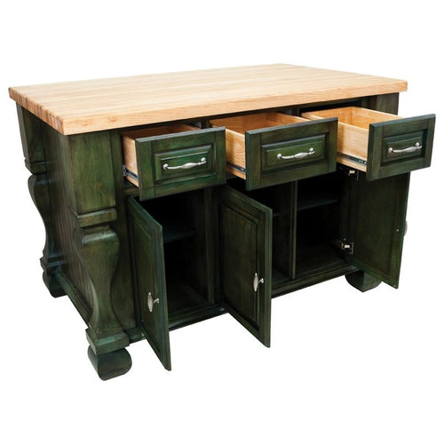 Hardware Resources ISL01 Kitchen Island, Aqua Green, TOP NOT INCLUDED