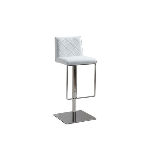 LOFT White Eco-leather w Stainless Steel Bar Stool by Casabianca Home
