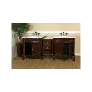 Bellaterra 82.7 In. Double Sink Vanity Walnut White Marble