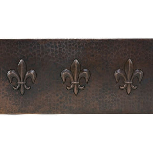 "33"" Hammered Copper Kitchen Apron Single Basin Sink w/ Fleur De Lis"
