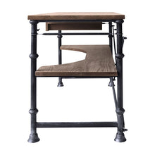 Load image into Gallery viewer, Theo Industrial Desk in Industrial Grey and Pine Wood Top