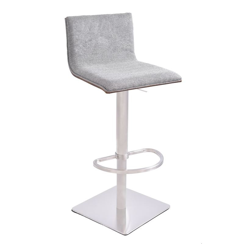 Crystal Barstool in Brushed Stainless Steel finish with Grey Fabric and Walnut Back